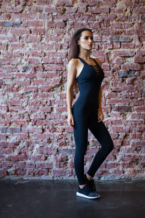 nuotrauka kombinezono Black Corset iš šono - Designed For Fitness