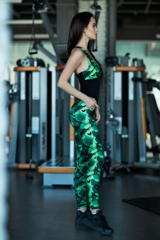 nuotrauka kombinezono Geometric Green iš šono - Desinged For Fitness