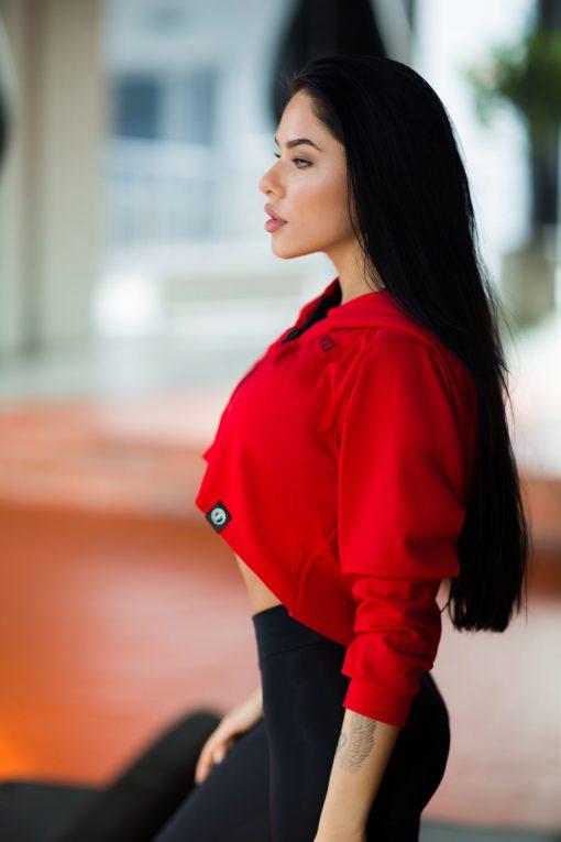 nuotrauka trumpo džemperio Red iš šono- Designed For Fitness