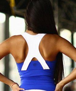 nuotrauka sportinės liemenėlės Basic Blue Long iš nugaros- Designed For Fitness