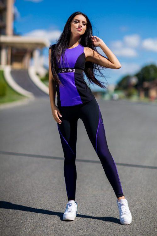 nuotrauka sportinio komplekto Pro Violet su ilga palaidine - Designed For Fitness