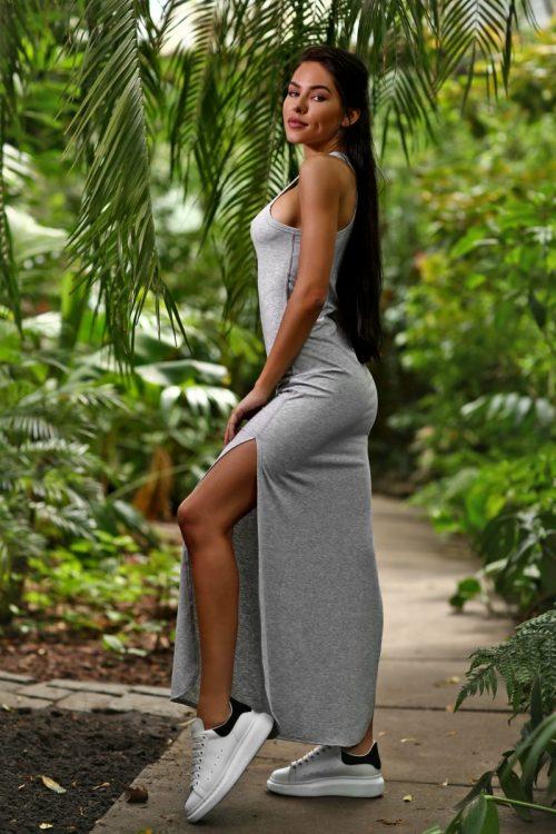 nuotrauka suknelė Light Grey iš šono- Designed For Fitness