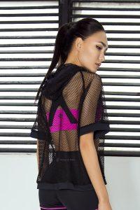 nuotrauka Sportinės tunikos - tinklelio Mesh Black iš nugaros - Designed For Fitness