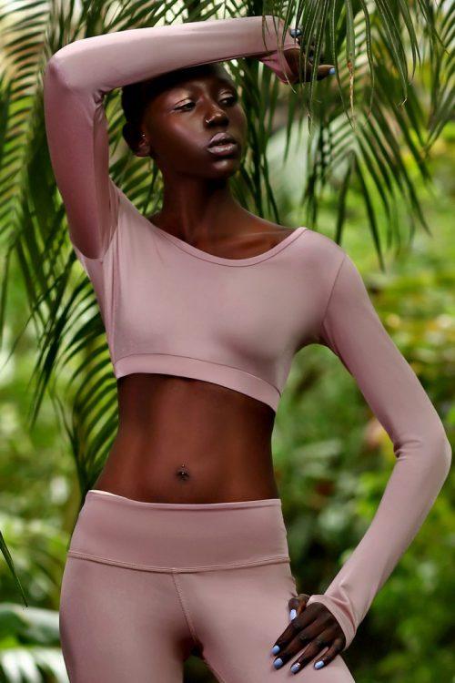 nuotrauka sportinės liemenėlės ilgomis rankovėmis Pastel Blush - Designed For Fitness